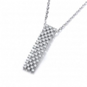 "J-Jaz Micro Pave Multi Row Cz Pendant with 18"" Chain"